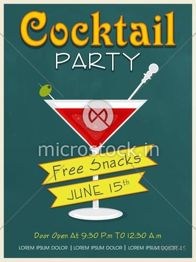 Vintage Invitation Card Design For Cocktail Party With Free Snacks Offer