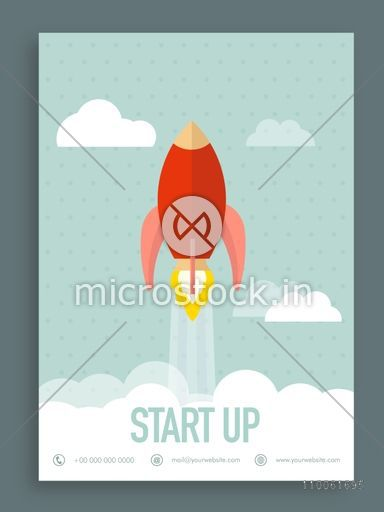 Vintage start up flyer, brochure or template design, can be used as ...