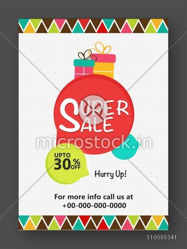 Super Sale Flyer, Banner, Pamphlet or Poster with 30% Discount Offer.