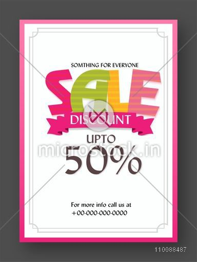 Stylish Sale Flyer, Banner, Pamphlet or Poster with 50% Discount Offer.