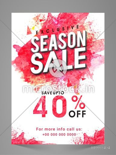 Exclusive Seasonal Sale Flyer, Banner, Pamphlet or Poster with Discount Upto 40% Off.