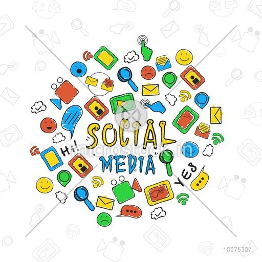 Colorful collections of Social Media icons or symbol for online communication concept.
