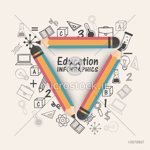 Creative Educational Infographics layout with colorful pencils on various elements background.