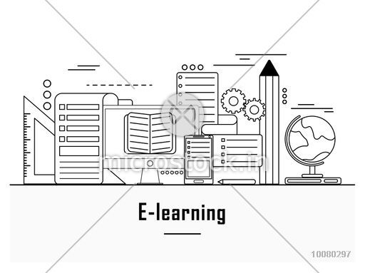 Online education, distance learning, retraining concepts, e-learning web banner, hero image, website slider. Line art vector illustration