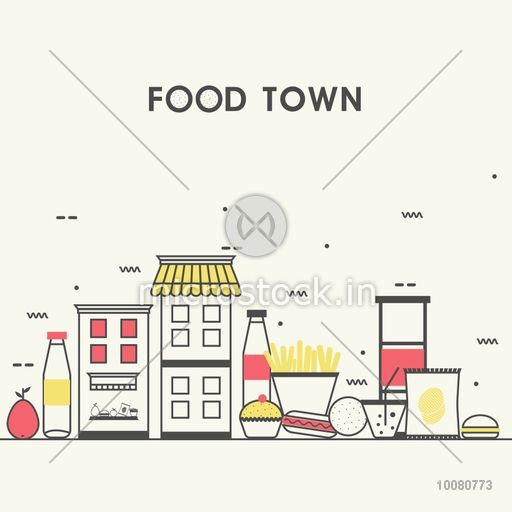 Modern flat style illustration of Local Food Stores of Small City, town facade with various Groceries and Sweets, Can be used as web banner, hero image and website slider.