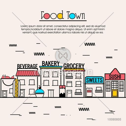 Modern flat style illustration with thin line icons of different food stores as Beverage, Bakery, Grocery, Sweets and Sushi. Creative One page web design template, hero image concept, website elements layout.