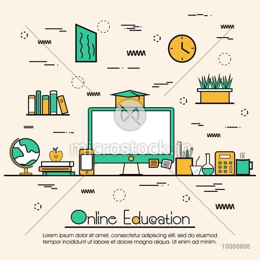 Modern doodle design style of Online Education, Distance Learning, Training and Educational Elements.Creative line art illustration for Web Banner, Online Tutorials, Printed or Promotional Materials.