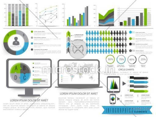 A big set of business infographics elements including bars graphs chart and world map a big set of business infographics elements including bars graphs and desktop screen showing pie gumiabroncs Gallery