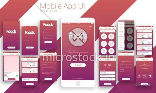 Online Food Delivery Mobile Apps, Material Design UI, UX, GUI Screens and flat web icons with Get Started, Login, Sign In, Food Menu, Food Category, Food Cart, Shipping Details, Payment and Order Placed features.