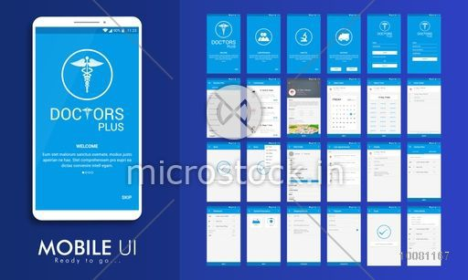 Material Design UI, UX, GUI screens for Health and Medical Mobile Apps, responsive website with Doctor Details, Booking, Select Date and Time, Edit Profile, Appointment Details, Shipping Details, Payment and Order Features.