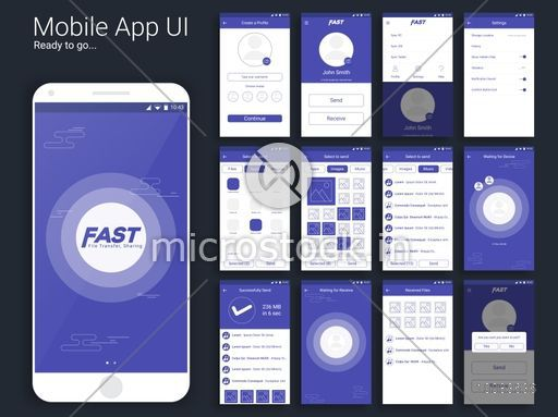 File Transfer and Sharing Mobile App, Material Design UI, UX and GUI template including Create Profile, Menu, Setting, Send Option, Sending Process, Confirmation, Receiving Process, Received Files and Exit Screens.
