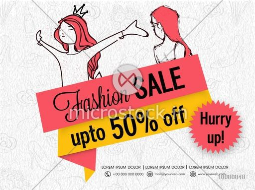 Fashion Sale Tag, Sale Poster, Sale Banner, Sale Flyer, Discount Upto 50%, Creative vector illustration.