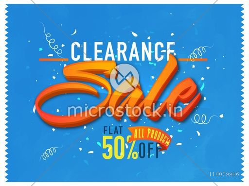 Clearance Sale Poster, Banner or Flyer with flat 50% discount offer on all products.