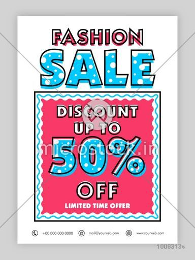 Fashion Sale Poster, Sale Banner, Sale Flyer, Discount Upto 50% Off, Limited Time Offer, Creative  Sale Background.