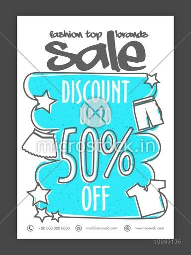 Fashion Top Brands Sale, Fashion Sale Poster, Sale Banner, Sale Flyer, Discount Upto 50% Off, Creative Sale Background with illustration of clothes.