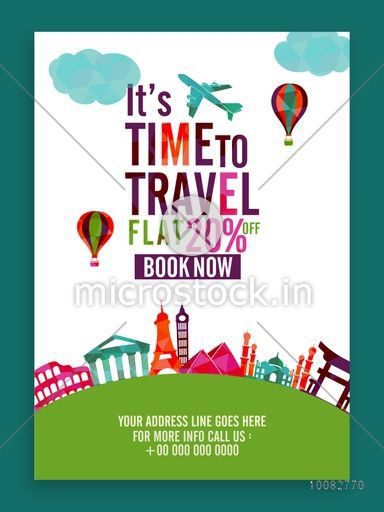 Time to Travel, Flat 20% off on Booking Now, Creative Template, Banner or Flyer design for Tour and Travel concept, Travel Agency Promotions and Announcements.
