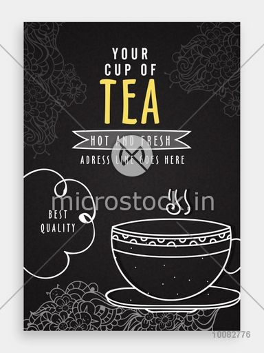 Floral design decorated, Template, Banner, Flyer or Menu Card with illustration of Tea Cup for Cafe and Restaurants.