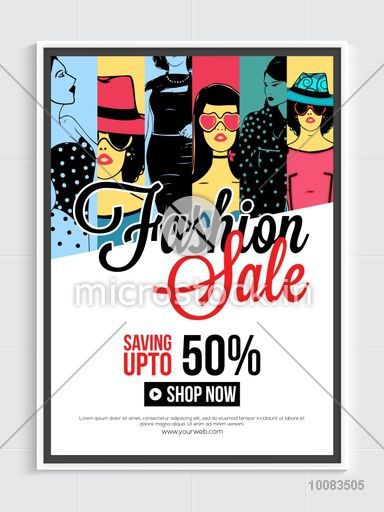 Fashion Sale Poster, Sale Banner, Sale Flyer, Save upto 50%, Creative Sale Background with illustration of young modern girls.