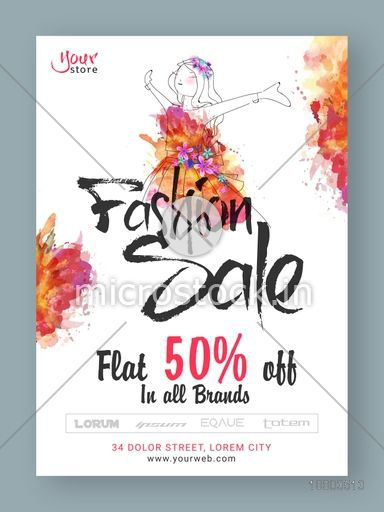 Fashion Sale Poster, Sale Banner, Sale Flyer, Flat 50% Off on all brands, Creative Sale Background with illustration of young modern girl.