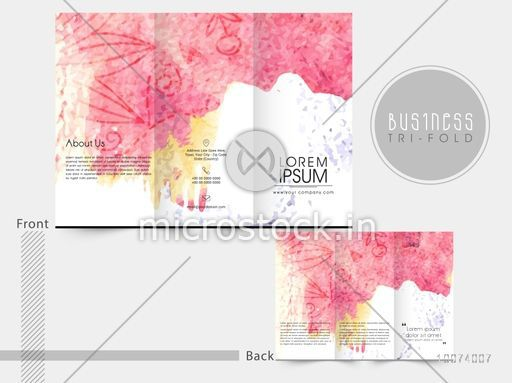 creative business trifold brochure template or flyer decorated with color splash and floral design