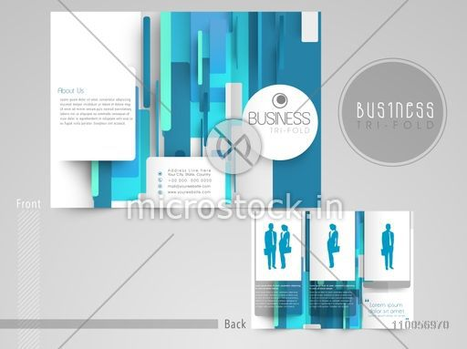 professional trifold brochure catalog and flyer template in blue