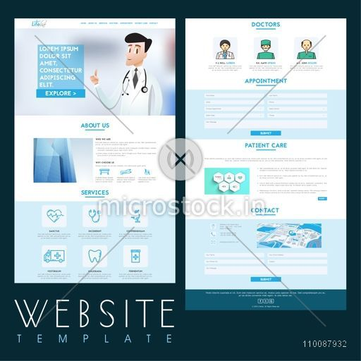 Creative Website Template layout for Health and Medical concept.