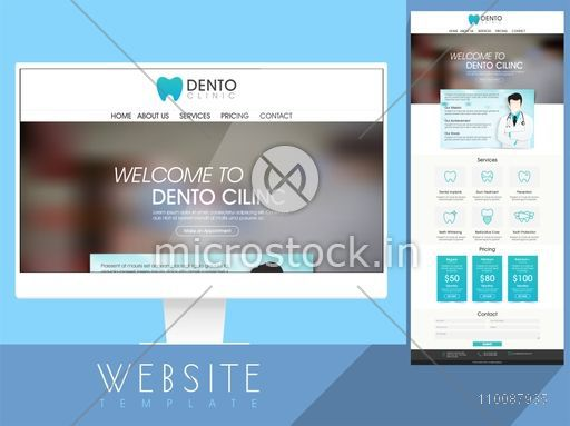 Dento Clinic Website Template design with services, pricing and contact details information.