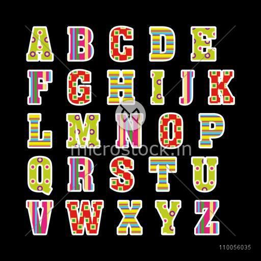 Beautiful alphabet capital letters in different design on black background.