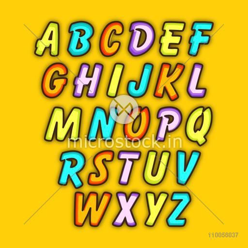 Stylish colorful capital letters alphabet for education on yellow background.