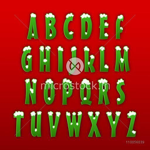 Glossy stylish capital letters from A to Z in green color on red background.