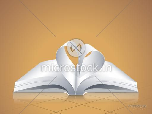 Creative design of open blank pages book with curled page in heart shape on brown background.