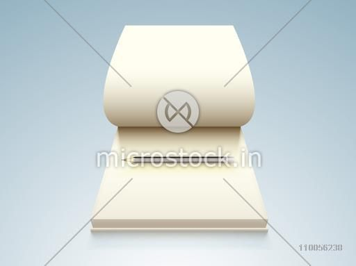 Open blank notebook with pencil on stylish background.