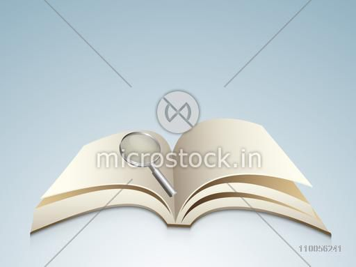Blank open book with magnifying glass on blue background.