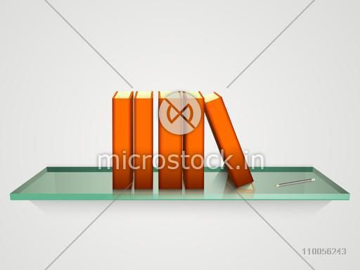 Books with orange cover and pencil on glass shelf over grey background.
