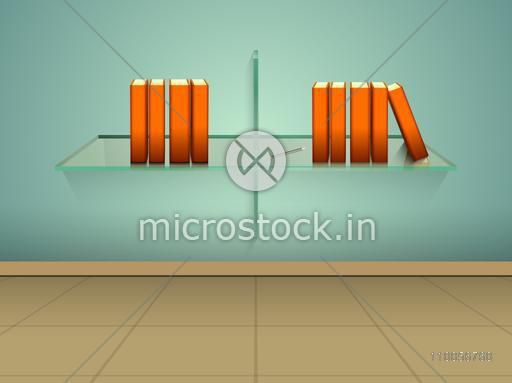 Books on glass shelf with pencil over stylish background.