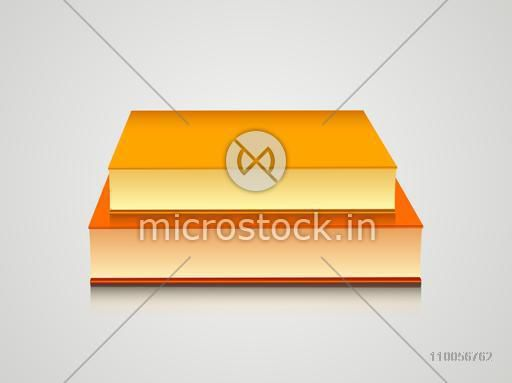 Stack of two books on grey background.