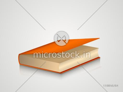 Book with orange cover isolated on grey background.