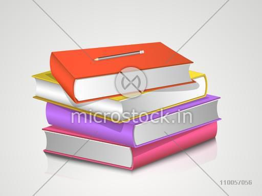 Stack of colorful books with pencil on grey background.