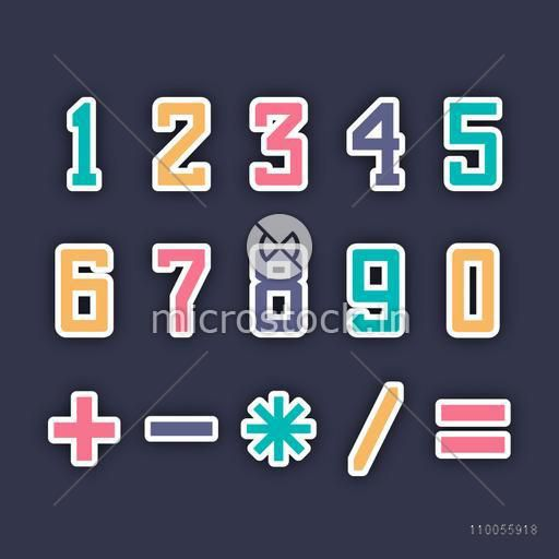 Colorful numbers and maths symbol on navy blue background.