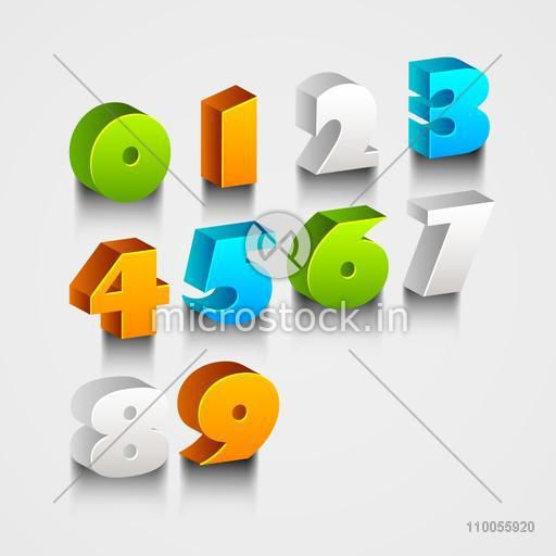 Colorful 3d numbers from 0 to 9 on stylish background.