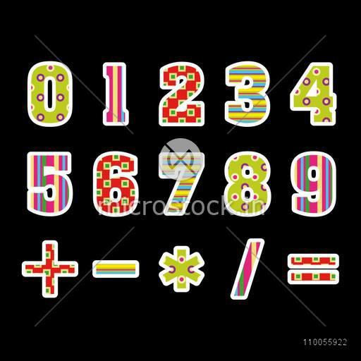 Stylish numbers with maths symbol on black background.