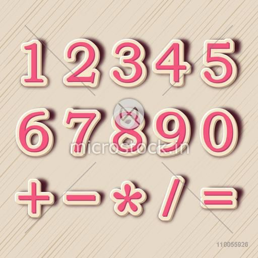 Numbers and maths symbol in pink and beige color on stylish beige background.