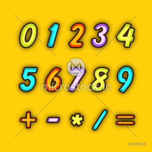 Colorful numbers with maths symbol on yellow background.