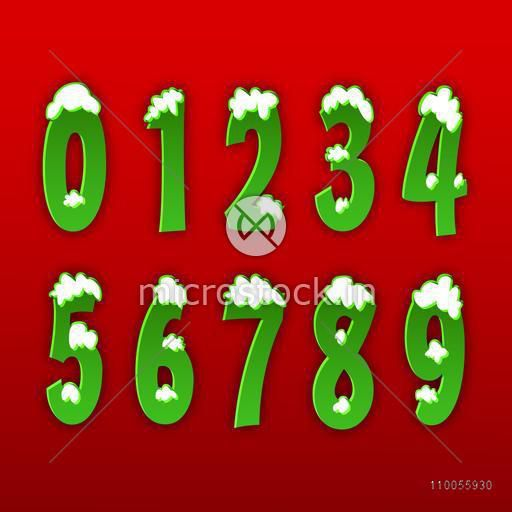 Shiny green color numbers from 0 to 9 on red background.