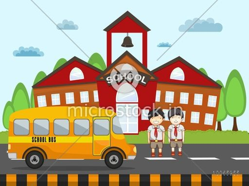 Cute little students standing outside of school building with bus on nature background.