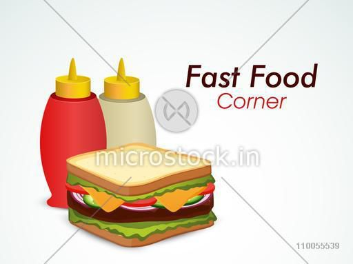 Delicious sandwich with tomato and chili sauce for fast food corner.
