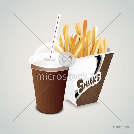 Brown disposable cup for beverage with straw and french fries snacks.