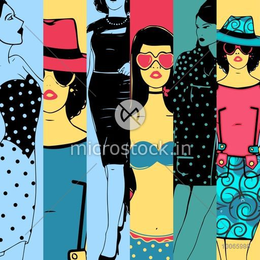 Vintage retro fashion collection with creative illustration of young fashionable girl in retro fashion.