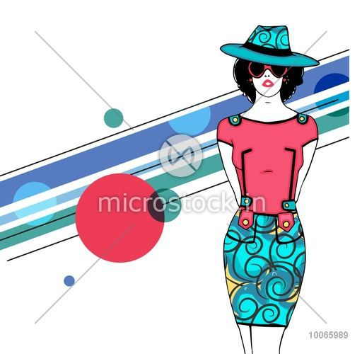 Young retro fashionable girl in hat, sunglasses and hot dress on stylish background.