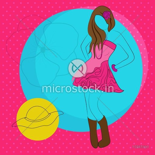 Young fashionable girl in pink hot dress on stylish background with summer hat.